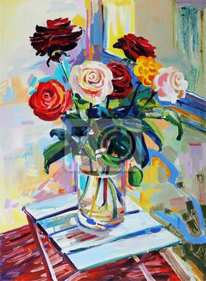 Цветы в современной живописи, картина Художественная композиция из роз букетЦветы в современной живописи<br>Репродукция на холсте или бумаге. Любого нужного вам размера. В раме или без. Подвес в комплекте. Трехслойная надежная упаковка. Доставим в любую точку России. Вам осталось только повесить картину на стену!<br>