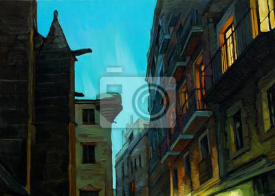 Вечером в готическом квартале Барселоны, живопись, иллюстрация, 28x20 см, на бумагеБарселона<br>Постер на холсте или бумаге. Любого нужного вам размера. В раме или без. Подвес в комплекте. Трехслойная надежная упаковка. Доставим в любую точку России. Вам осталось только повесить картину на стену!<br>