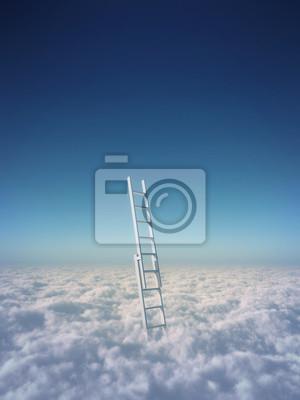 Постер Голубое небо с облаками и лестницу, путь к успеху концепцииЛестница в небо<br>Постер на холсте или бумаге. Любого нужного вам размера. В раме или без. Подвес в комплекте. Трехслойная надежная упаковка. Доставим в любую точку России. Вам осталось только повесить картину на стену!<br>