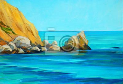 Пейзаж современный морской Морской пляж на средиземноморском побережье Испании, рисунок на канваПейзаж современный морской<br>Репродукция на холсте или бумаге. Любого нужного вам размера. В раме или без. Подвес в комплекте. Трехслойная надежная упаковка. Доставим в любую точку России. Вам осталось только повесить картину на стену!<br>