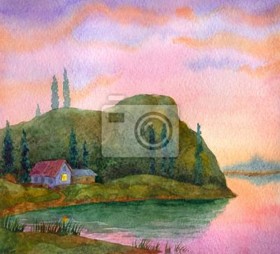 Акварельный пейзаж. Дом на берегу озера, 22x20 см, на бумагеПейзаж горный в современной живописи<br>Постер на холсте или бумаге. Любого нужного вам размера. В раме или без. Подвес в комплекте. Трехслойная надежная упаковка. Доставим в любую точку России. Вам осталось только повесить картину на стену!<br>