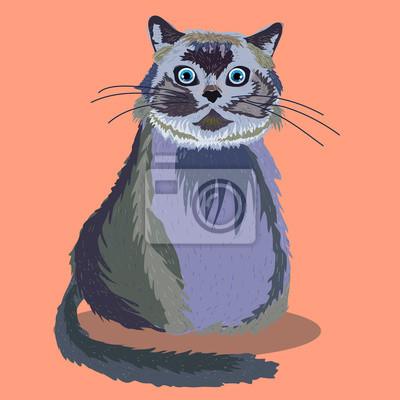Постер Кошки Большой милый пушистый кот, векторные иллюстрации.Кошки<br>Постер на холсте или бумаге. Любого нужного вам размера. В раме или без. Подвес в комплекте. Трехслойная надежная упаковка. Доставим в любую точку России. Вам осталось только повесить картину на стену!<br>