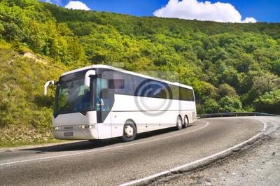 Туристический автобус едет по дороге среди гор, 30x20 см, на бумагеАвтобусы, троллейбусы<br>Постер на холсте или бумаге. Любого нужного вам размера. В раме или без. Подвес в комплекте. Трехслойная надежная упаковка. Доставим в любую точку России. Вам осталось только повесить картину на стену!<br>