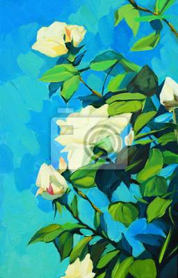 Постер Цветы в современной живописи Цветущие Белые розы, живопись маслом на холсте, illustratioЦветы в современной живописи<br>Постер на холсте или бумаге. Любого нужного вам размера. В раме или без. Подвес в комплекте. Трехслойная надежная упаковка. Доставим в любую точку России. Вам осталось только повесить картину на стену!<br>