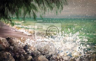 Пейзаж современный морской Пейзаж - море, волны и берег .Пейзаж современный морской<br>Репродукция на холсте или бумаге. Любого нужного вам размера. В раме или без. Подвес в комплекте. Трехслойная надежная упаковка. Доставим в любую точку России. Вам осталось только повесить картину на стену!<br>