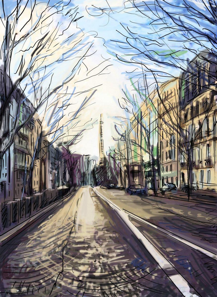 Постер Современный городской пейзаж Улица в Париже - иллюстрацияСовременный городской пейзаж<br>Постер на холсте или бумаге. Любого нужного вам размера. В раме или без. Подвес в комплекте. Трехслойная надежная упаковка. Доставим в любую точку России. Вам осталось только повесить картину на стену!<br>