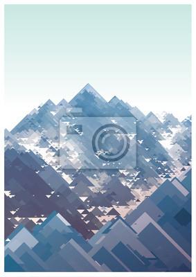 Постер-картина Полигональный арт Горы, вектор геометрический рисунок, состоящий из треугольниковПолигональный арт<br>Постер на холсте или бумаге. Любого нужного вам размера. В раме или без. Подвес в комплекте. Трехслойная надежная упаковка. Доставим в любую точку России. Вам осталось только повесить картину на стену!<br>