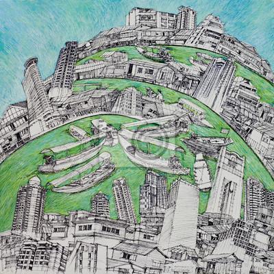 Постер Современный городской пейзаж Рисунка и живописи города и жизни БангкокаСовременный городской пейзаж<br>Постер на холсте или бумаге. Любого нужного вам размера. В раме или без. Подвес в комплекте. Трехслойная надежная упаковка. Доставим в любую точку России. Вам осталось только повесить картину на стену!<br>