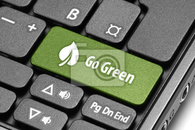 Go Green. Зеленый горячих клавиш на клавиатуре компьютера., 30x20 см, на бумаге06.05 День эколога<br>Постер на холсте или бумаге. Любого нужного вам размера. В раме или без. Подвес в комплекте. Трехслойная надежная упаковка. Доставим в любую точку России. Вам осталось только повесить картину на стену!<br>