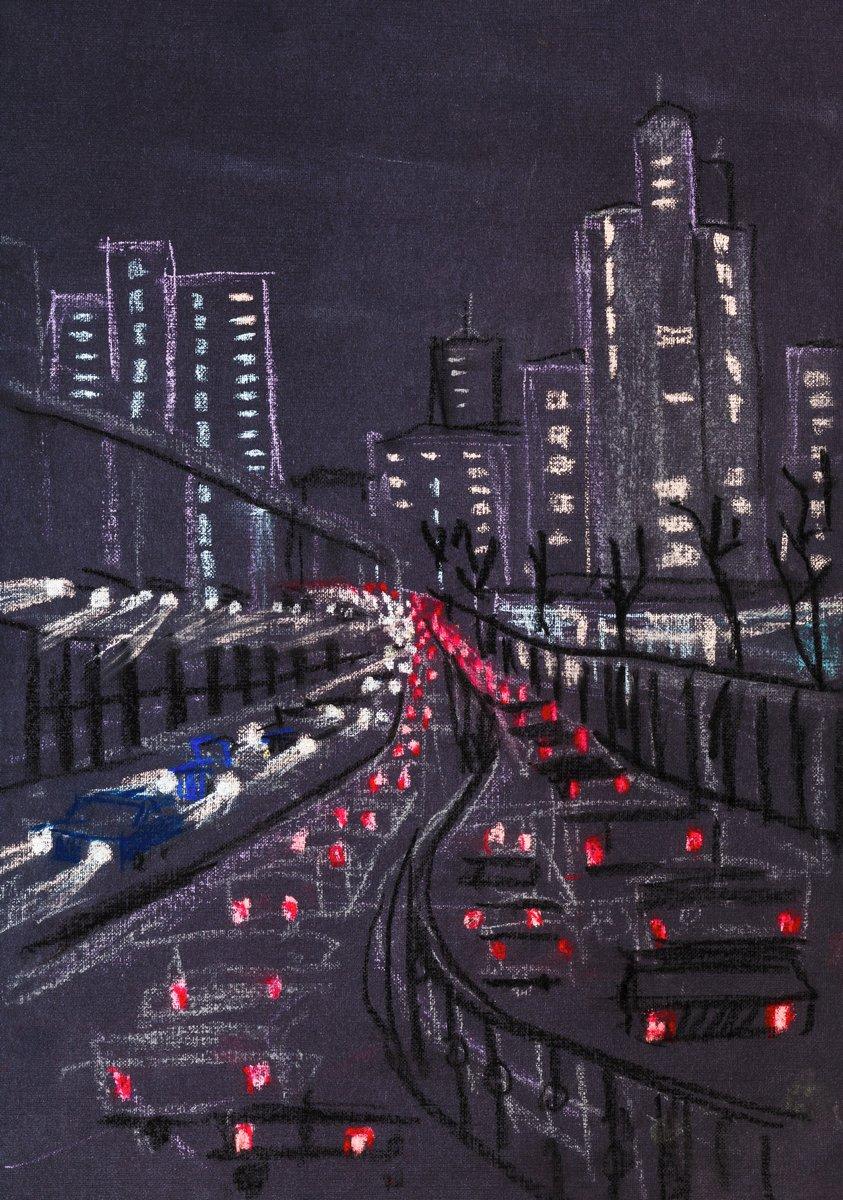 Постер Современный городской пейзаж Огни большого городаСовременный городской пейзаж<br>Постер на холсте или бумаге. Любого нужного вам размера. В раме или без. Подвес в комплекте. Трехслойная надежная упаковка. Доставим в любую точку России. Вам осталось только повесить картину на стену!<br>