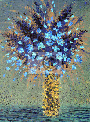 Цветы в современной живописи, картина Картина маслом. Синие цветы в желтой вазеЦветы в современной живописи<br>Репродукция на холсте или бумаге. Любого нужного вам размера. В раме или без. Подвес в комплекте. Трехслойная надежная упаковка. Доставим в любую точку России. Вам осталось только повесить картину на стену!<br>