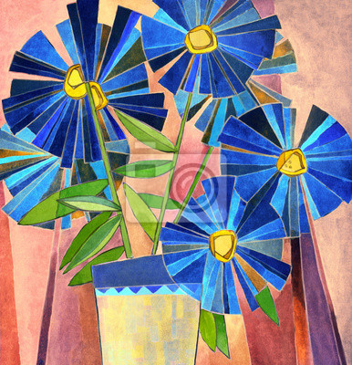 Цветы в современной живописи, картина Пышные темно-синий ромашкиЦветы в современной живописи<br>Репродукция на холсте или бумаге. Любого нужного вам размера. В раме или без. Подвес в комплекте. Трехслойная надежная упаковка. Доставим в любую точку России. Вам осталось только повесить картину на стену!<br>