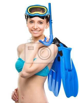 Молодая счастливая женщина с трубкой оборудование, 20x26 см, на бумаге05.05 День водолаза<br>Постер на холсте или бумаге. Любого нужного вам размера. В раме или без. Подвес в комплекте. Трехслойная надежная упаковка. Доставим в любую точку России. Вам осталось только повесить картину на стену!<br>