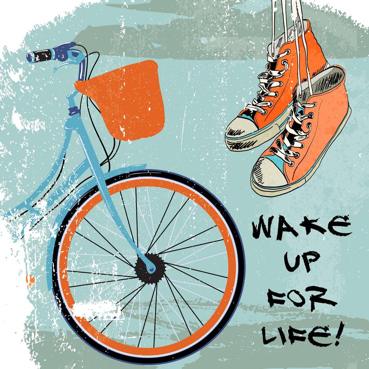 Постер-картина Мотивационный плакат Кеды эскиз велосипеда хипстерМотивационный плакат<br>Постер на холсте или бумаге. Любого нужного вам размера. В раме или без. Подвес в комплекте. Трехслойная надежная упаковка. Доставим в любую точку России. Вам осталось только повесить картину на стену!<br>