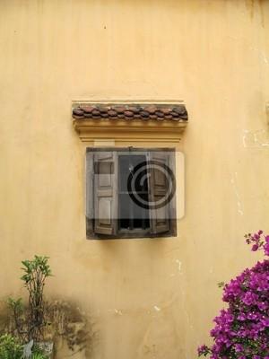 Постер Ханой Деревенское стены с окном, Ханой, ВьетнамХаной<br>Постер на холсте или бумаге. Любого нужного вам размера. В раме или без. Подвес в комплекте. Трехслойная надежная упаковка. Доставим в любую точку России. Вам осталось только повесить картину на стену!<br>