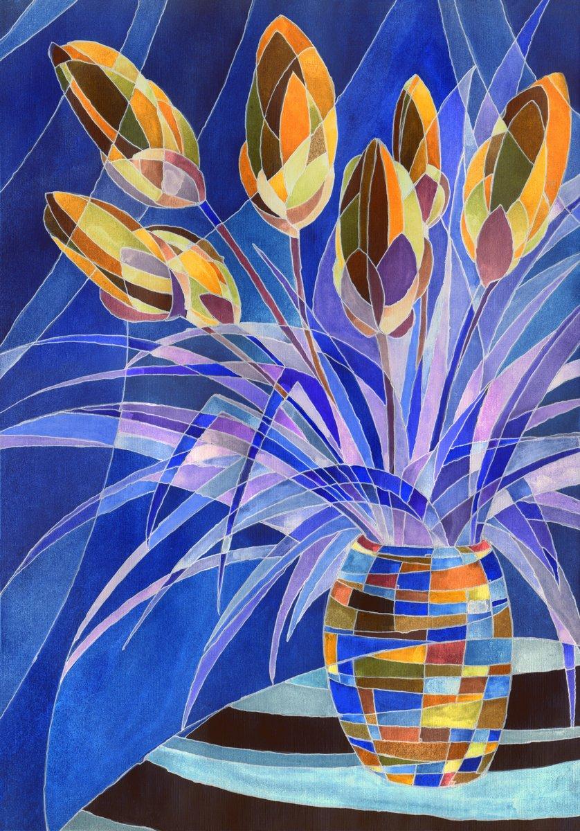 Постер Цветы в современной живописи Абстрактные цветы в вазеЦветы в современной живописи<br>Постер на холсте или бумаге. Любого нужного вам размера. В раме или без. Подвес в комплекте. Трехслойная надежная упаковка. Доставим в любую точку России. Вам осталось только повесить картину на стену!<br>