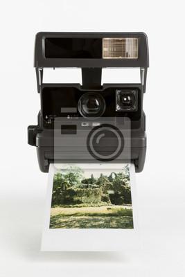 Старомодный мгновенный камера с готовой photoshot, 20x30 см, на бумаге90-е годы в России<br>Постер на холсте или бумаге. Любого нужного вам размера. В раме или без. Подвес в комплекте. Трехслойная надежная упаковка. Доставим в любую точку России. Вам осталось только повесить картину на стену!<br>