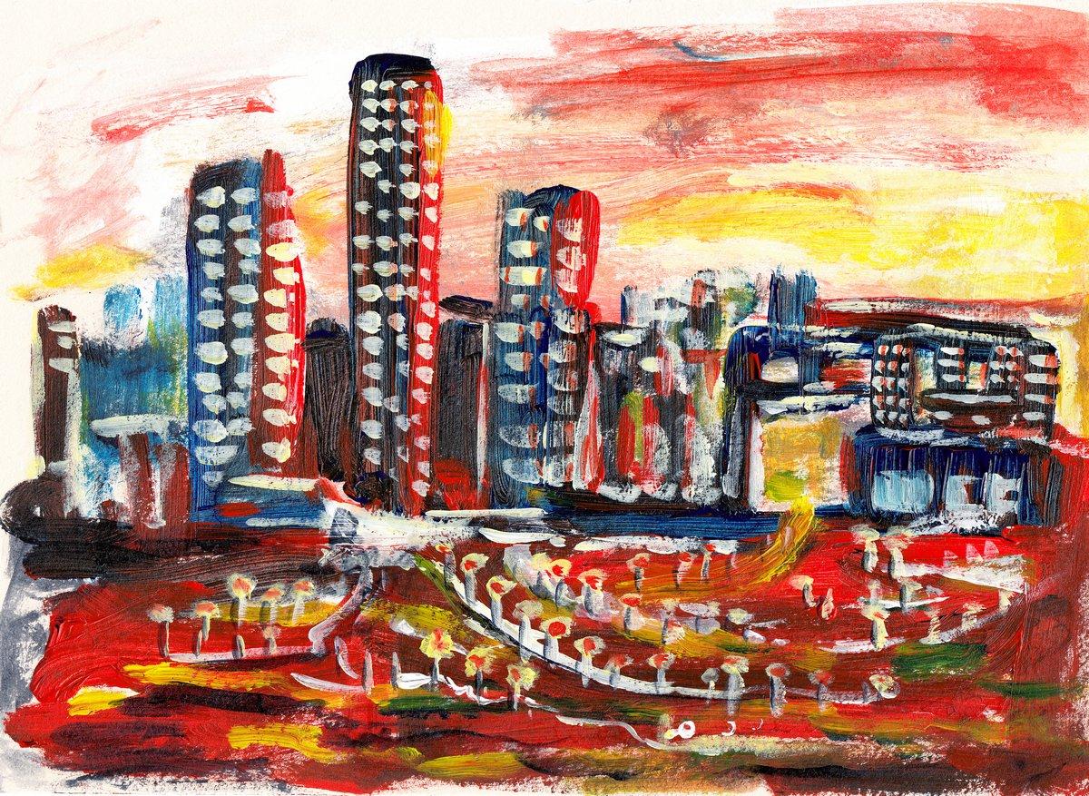 Постер Современный городской пейзаж Руки рисуют городСовременный городской пейзаж<br>Постер на холсте или бумаге. Любого нужного вам размера. В раме или без. Подвес в комплекте. Трехслойная надежная упаковка. Доставим в любую точку России. Вам осталось только повесить картину на стену!<br>