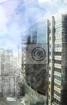 Постер Современный городской пейзаж Акварельные иллюстрации современного городского пространстваСовременный городской пейзаж<br>Постер на холсте или бумаге. Любого нужного вам размера. В раме или без. Подвес в комплекте. Трехслойная надежная упаковка. Доставим в любую точку России. Вам осталось только повесить картину на стену!<br>