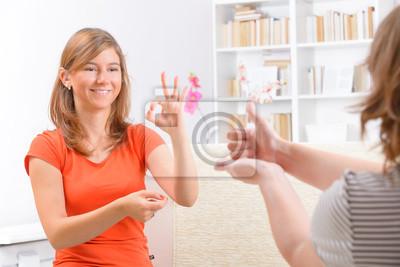 Глухая женщина изучении языка жестов, 30x20 см, на бумаге10.31 День сурдопереводчика<br>Постер на холсте или бумаге. Любого нужного вам размера. В раме или без. Подвес в комплекте. Трехслойная надежная упаковка. Доставим в любую точку России. Вам осталось только повесить картину на стену!<br>