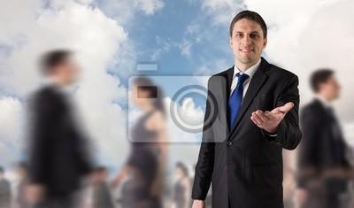 Обобщенный образ красивый бизнесмен держа руку, 34x20 см, на бумаге11.07 Всемирный день мужчин<br>Постер на холсте или бумаге. Любого нужного вам размера. В раме или без. Подвес в комплекте. Трехслойная надежная упаковка. Доставим в любую точку России. Вам осталось только повесить картину на стену!<br>