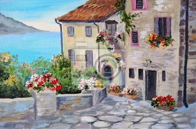 Средиземноморье, современный пейзаж Живопись маслом на холсте красивых домов возле моряСредиземноморье, современный пейзаж<br>Репродукция на холсте или бумаге. Любого нужного вам размера. В раме или без. Подвес в комплекте. Трехслойная надежная упаковка. Доставим в любую точку России. Вам осталось только повесить картину на стену!<br>