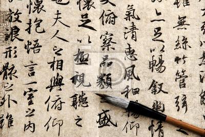 Постер-картина Иероглифы Китайская каллиграфия на бежевом фонеИероглифы<br>Постер на холсте или бумаге. Любого нужного вам размера. В раме или без. Подвес в комплекте. Трехслойная надежная упаковка. Доставим в любую точку России. Вам осталось только повесить картину на стену!<br>
