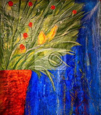 Цветы в современной живописи, картина Медный горшок с цветамиЦветы в современной живописи<br>Репродукция на холсте или бумаге. Любого нужного вам размера. В раме или без. Подвес в комплекте. Трехслойная надежная упаковка. Доставим в любую точку России. Вам осталось только повесить картину на стену!<br>