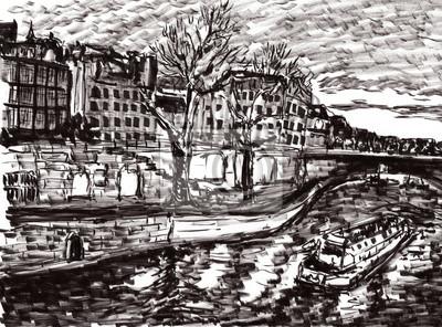 Постер Современный городской пейзаж Рука рисовать Париж рекаСовременный городской пейзаж<br>Постер на холсте или бумаге. Любого нужного вам размера. В раме или без. Подвес в комплекте. Трехслойная надежная упаковка. Доставим в любую точку России. Вам осталось только повесить картину на стену!<br>