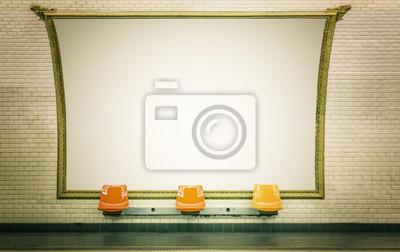 Постер-картина Фото-постеры Пустая афиша в станции метро,Париж, 32x20 см, на бумагеМетро<br>Постер на холсте или бумаге. Любого нужного вам размера. В раме или без. Подвес в комплекте. Трехслойная надежная упаковка. Доставим в любую точку России. Вам осталось только повесить картину на стену!<br>