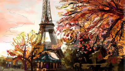 Пейзаж современный городской Улица в Париже. Эйфелева башня - иллюстрацияПейзаж современный городской<br>Репродукция на холсте или бумаге. Любого нужного вам размера. В раме или без. Подвес в комплекте. Трехслойная надежная упаковка. Доставим в любую точку России. Вам осталось только повесить картину на стену!<br>