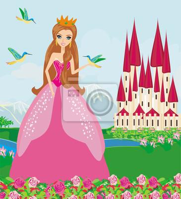 Постер Разные детские постеры Принцесса с птицами в садуРазные детские постеры<br>Постер на холсте или бумаге. Любого нужного вам размера. В раме или без. Подвес в комплекте. Трехслойная надежная упаковка. Доставим в любую точку России. Вам осталось только повесить картину на стену!<br>