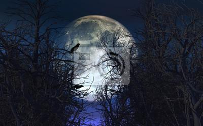 Постер Полнолуние Жуткий фон с воронами на деревьях против лунное небоПолнолуние<br>Постер на холсте или бумаге. Любого нужного вам размера. В раме или без. Подвес в комплекте. Трехслойная надежная упаковка. Доставим в любую точку России. Вам осталось только повесить картину на стену!<br>