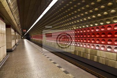 Постер-картина Метро Интерьер станции выставочный зал от метро ПражскаяМетро<br>Постер на холсте или бумаге. Любого нужного вам размера. В раме или без. Подвес в комплекте. Трехслойная надежная упаковка. Доставим в любую точку России. Вам осталось только повесить картину на стену!<br>
