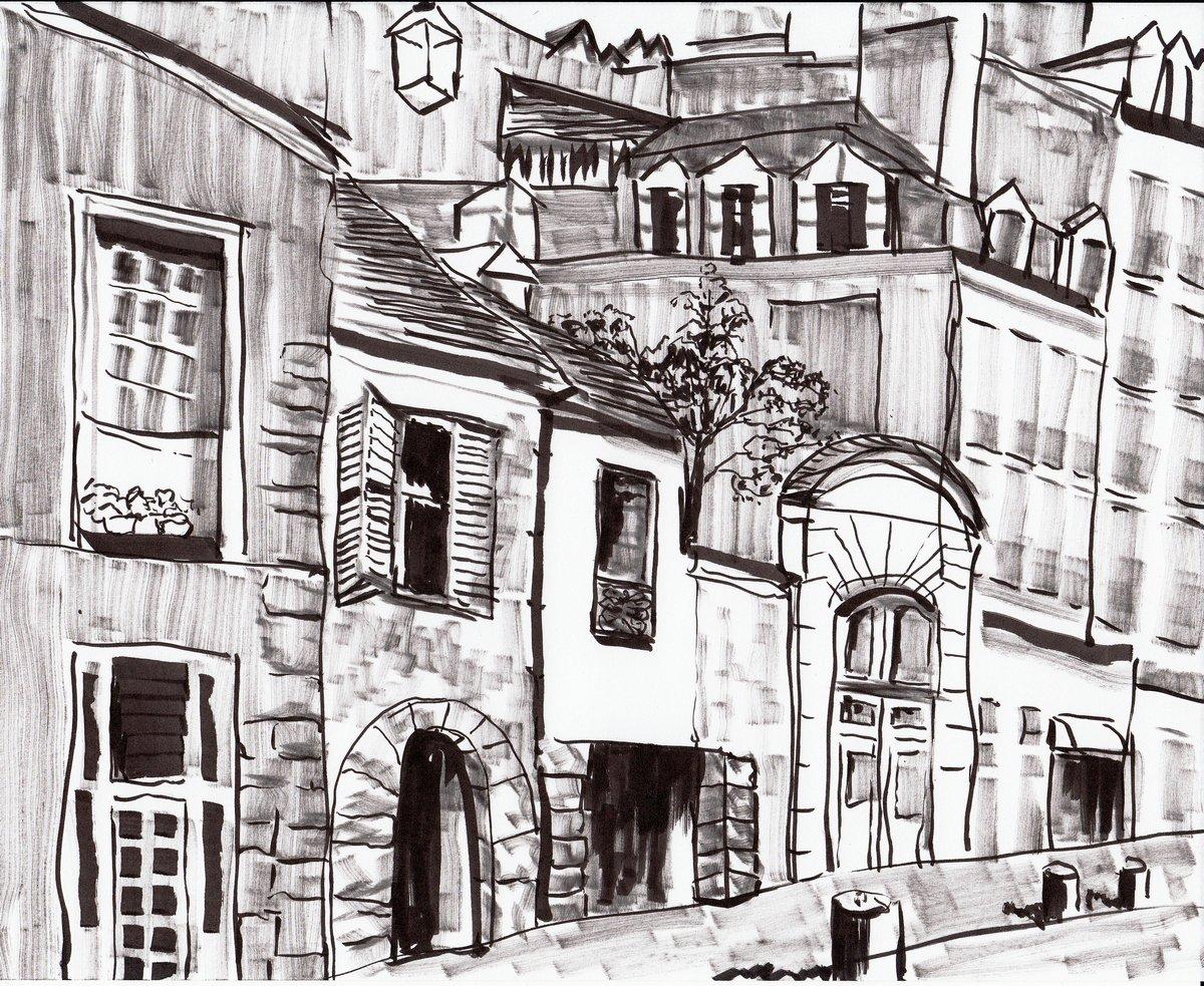Постер Современный городской пейзаж Рука рисовать Париже зданиеСовременный городской пейзаж<br>Постер на холсте или бумаге. Любого нужного вам размера. В раме или без. Подвес в комплекте. Трехслойная надежная упаковка. Доставим в любую точку России. Вам осталось только повесить картину на стену!<br>