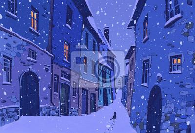 Постер Современный городской пейзаж Узкие европейские улицы зимойСовременный городской пейзаж<br>Постер на холсте или бумаге. Любого нужного вам размера. В раме или без. Подвес в комплекте. Трехслойная надежная упаковка. Доставим в любую точку России. Вам осталось только повесить картину на стену!<br>