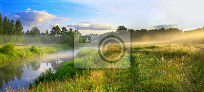Постер Туман Панорама летний пейзаж с восходом солнца, туман и рекиТуман<br>Постер на холсте или бумаге. Любого нужного вам размера. В раме или без. Подвес в комплекте. Трехслойная надежная упаковка. Доставим в любую точку России. Вам осталось только повесить картину на стену!<br>