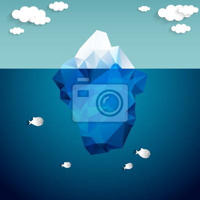 Постер-картина Минимализм Векторная иллюстрация айсберг и облакаМинимализм<br>Постер на холсте или бумаге. Любого нужного вам размера. В раме или без. Подвес в комплекте. Трехслойная надежная упаковка. Доставим в любую точку России. Вам осталось только повесить картину на стену!<br>