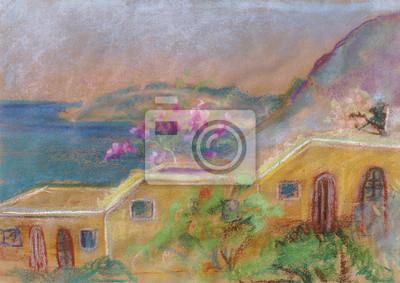 Средиземноморье, современный пейзаж Цветы на крышеСредиземноморье, современный пейзаж<br>Репродукция на холсте или бумаге. Любого нужного вам размера. В раме или без. Подвес в комплекте. Трехслойная надежная упаковка. Доставим в любую точку России. Вам осталось только повесить картину на стену!<br>