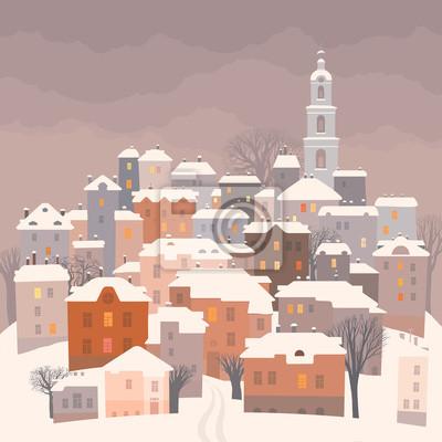 Пейзаж современный городской Маленький городок в зимние сумеркиПейзаж современный городской<br>Репродукция на холсте или бумаге. Любого нужного вам размера. В раме или без. Подвес в комплекте. Трехслойная надежная упаковка. Доставим в любую точку России. Вам осталось только повесить картину на стену!<br>