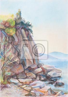 Средиземноморье, современный пейзаж Скалы на пляжеРепродукция на холсте или бумаге. Любого нужного вам размера. В раме или без. Подвес в комплекте. Трехслойная надежная упаковка. Доставим в любую точку России. Вам осталось только повесить картину на стену!<br>