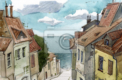 Постер Современный городской пейзаж Акварельный эскиз старых европейских улицСовременный городской пейзаж<br>Постер на холсте или бумаге. Любого нужного вам размера. В раме или без. Подвес в комплекте. Трехслойная надежная упаковка. Доставим в любую точку России. Вам осталось только повесить картину на стену!<br>