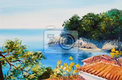 Пейзажи Картина маслом - дом возле моря, 30x20 см, на бумагеСредиземноморье, современный пейзаж<br>Постер на холсте или бумаге. Любого нужного вам размера. В раме или без. Подвес в комплекте. Трехслойная надежная упаковка. Доставим в любую точку России. Вам осталось только повесить картину на стену!<br>