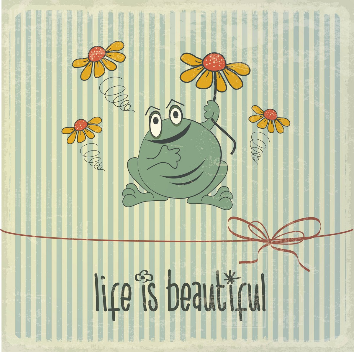 Постер-картина Мотивационный плакат Ретро иллюстрация с счастливые лягушки и фраза Жизнь прекраснаМотивационный плакат<br>Постер на холсте или бумаге. Любого нужного вам размера. В раме или без. Подвес в комплекте. Трехслойная надежная упаковка. Доставим в любую точку России. Вам осталось только повесить картину на стену!<br>