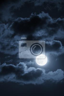 Постер Полнолуние Драматические облака и ночное небо с красивой полной голубой ЛуныПолнолуние<br>Постер на холсте или бумаге. Любого нужного вам размера. В раме или без. Подвес в комплекте. Трехслойная надежная упаковка. Доставим в любую точку России. Вам осталось только повесить картину на стену!<br>