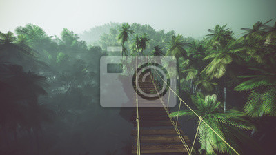 Постер Туман Веревочный мост в туманных джунглях с пальмами. С подсветкой.Туман<br>Постер на холсте или бумаге. Любого нужного вам размера. В раме или без. Подвес в комплекте. Трехслойная надежная упаковка. Доставим в любую точку России. Вам осталось только повесить картину на стену!<br>