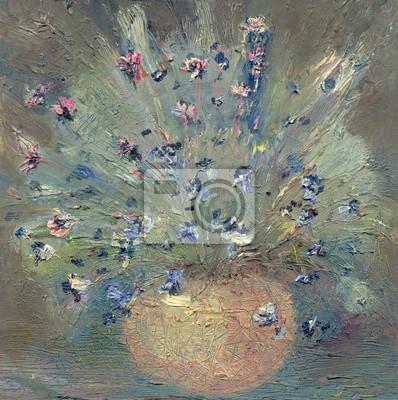Постер Цветы в современной живописи Полевые цветы вазаЦветы в современной живописи<br>Постер на холсте или бумаге. Любого нужного вам размера. В раме или без. Подвес в комплекте. Трехслойная надежная упаковка. Доставим в любую точку России. Вам осталось только повесить картину на стену!<br>