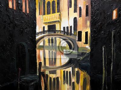 Пейзаж современный городской Картина маслом на холсте - Венецианский мостПейзаж современный городской<br>Репродукция на холсте или бумаге. Любого нужного вам размера. В раме или без. Подвес в комплекте. Трехслойная надежная упаковка. Доставим в любую точку России. Вам осталось только повесить картину на стену!<br>
