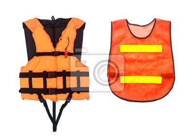 Постер Безопасность жизнедеятельности Оранжевый спасательный жилет и жилет оранжевый, изолированных на белом фоне, отсеченияБезопасность жизнедеятельности<br>Постер на холсте или бумаге. Любого нужного вам размера. В раме или без. Подвес в комплекте. Трехслойная надежная упаковка. Доставим в любую точку России. Вам осталось только повесить картину на стену!<br>