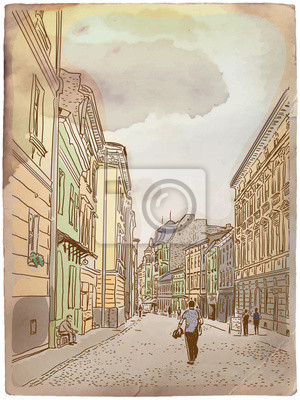 Пейзаж современный городской Старинной Европейской улицы. Винтажная открытка.Пейзаж современный городской<br>Репродукция на холсте или бумаге. Любого нужного вам размера. В раме или без. Подвес в комплекте. Трехслойная надежная упаковка. Доставим в любую точку России. Вам осталось только повесить картину на стену!<br>